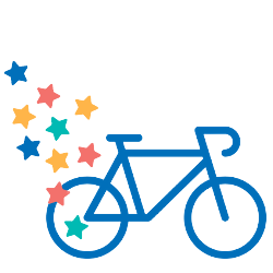 Graphic of a blue bike with Make-A-Wish stars