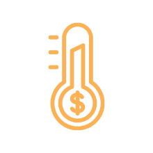 Graphic of an orange fundraising thermometer