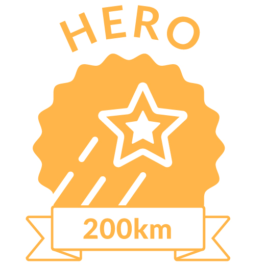 Superhero Cycle champion badge for 200km distance