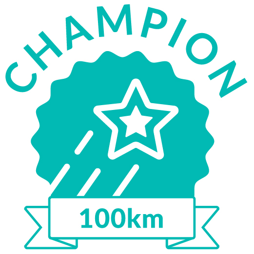 Superhero Cycle champion badge for 100km distance