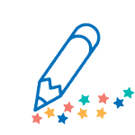 Graphic of a blue pencil with Make-A-Wish stars
