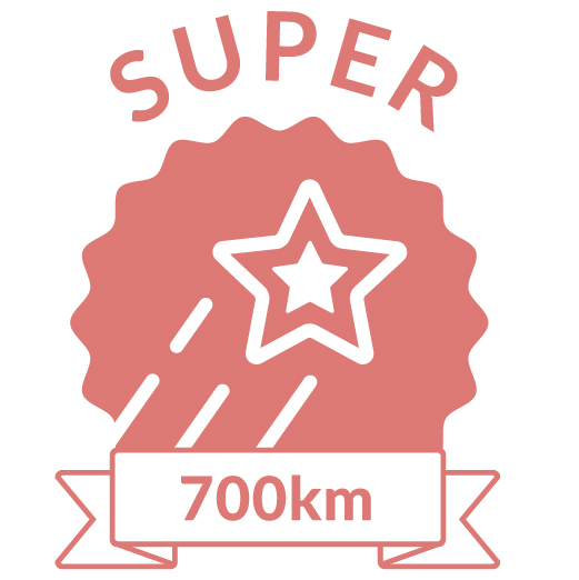 Superhero Cycle champion badge for 700km distance