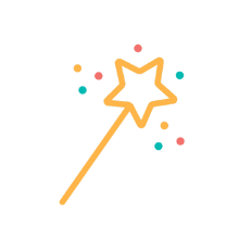 Graphic of an orange wand