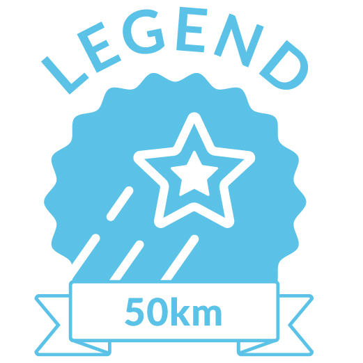 Superhero Cycle legend badge for 50km distance