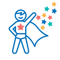 Graphic of a blue superhero with Make-A-Wish stars